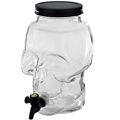 5 L Schädel Getränkespender m Zapfhahn Wasser Saft Spender Glas Dispenser Limo