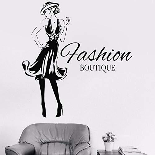 Yzybz Mode Frau Design Vinyl Aufkleber Mädchen Mode Kleidung Boutique Schaufenster Wohnzimmer Wandtattoo Gil Dorm Aufkleber