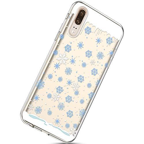 Handytasche Huawei P20 Weihnachten Silikon Hülle Crystal Clear Durchsichtige Hülle Ultradünn Transparent Handyhüllen TPU Bumper Case Cover,Blau Schneeflocken