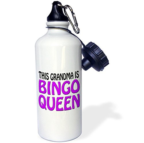 Sports Water Bottle Gift for Kids Girl Boy, This Grandma Is Bingo Queen Purple Stainless Steel Water Bottle for School Office Travel 21oz