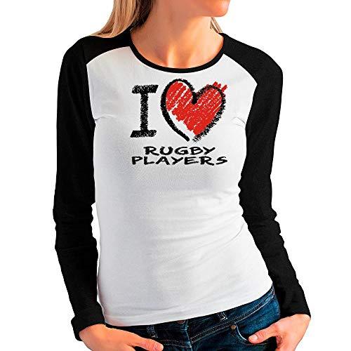 Idakoos I Love Rugby Players Chalk Style Damen Raglan Langarm T-Shirt M -