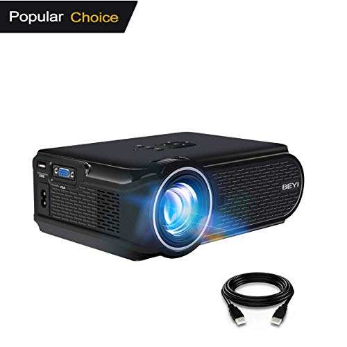 BEYI 3000 Lumen Videoproiettore a LED. Proiettore Multimediale Portatile Mini Home Theatre, Supporto 1080P Full HD, 1080P HDMI, VGA, USB, AV, Laptop, Iphone, Smartphone Android (Con Linea HDIM) Nero