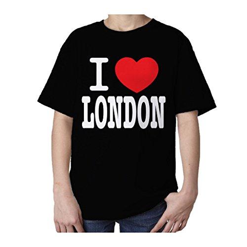 Occasion, T-shirt pour enfant Motif I Love London Noir -  Noir d'occasion  Livré partout en Belgique