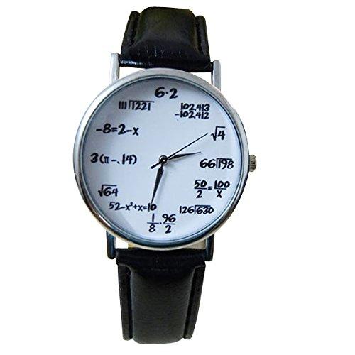 Orologio da polso Unisex, formule di matematica/fisica al posto dei numeri, stile Hipster Vintage, Argento, Bianco e Nero