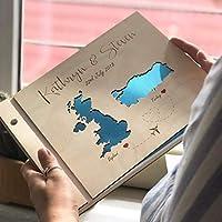 Guestbook matrimonio, Mape, libro delle firme e dediche del matrimonio, con copertina legno, personalizzato, nomi degli sposi e la data del matrimonio, album per foto, idea regalo per gli amici
