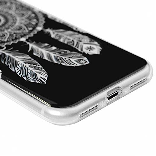 SMART LEGEND iPhone 7 Weiche Silikon Hülle Bumper Schutzhülle Transparent Rahmen Hülle mit Blume Muster Handyhülle Crystal Kirstall Clear Etui Ultra Slim Design Glatt Durchsichtig Weich TPU Handy Tasc Dream Catcher