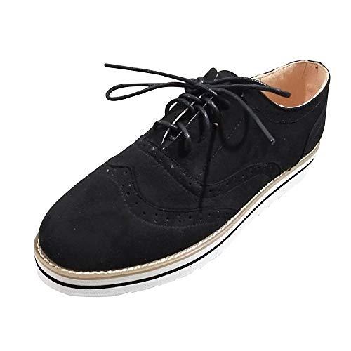 HEATLE Schuhe Damen Mode Gute Qualität Sportschuhe Retro Runder Zeh Einfarbig Knöchel Eben Wildleder Beiläufig Schnür Schuhe(Schwarz,42)