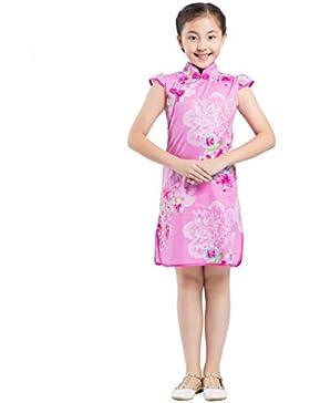 AKAAYUKO Chicas Floral Qipao Estilo Chino Cheongsam Disfraz Vestir