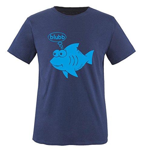 Fisch blubb - Herren T-Shirt in Navy / Blau Gr. XL (Herren Fisch)