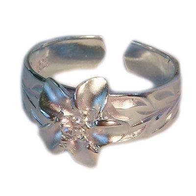 Preisvergleich Produktbild Sterling Silber CZ Hawaiian Plumeria Blume Zehenring