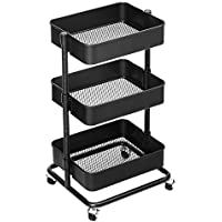 SONGMICS 3-Tier Storage Trolley, Rolling Cart, Kitchen Storage Cart with Height Adjustable Shelves, Utility Cart with 2 Brakes, Easy Assembly, for Bathroom, Kitchen, Office, Black BSC60B