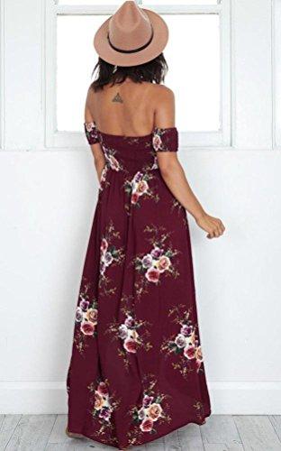 Langes Maxi Kleid VENMO@Frauen aus Schulter Kurzarm Blumen gedruckt lange Maxi Party Kleid Weinrot