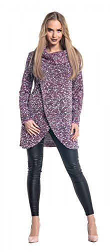Glamour Empire. Donna Maglione Pullover a Strati Avvolgerlo Collo ad Anello. 359 Rosa & Bianca