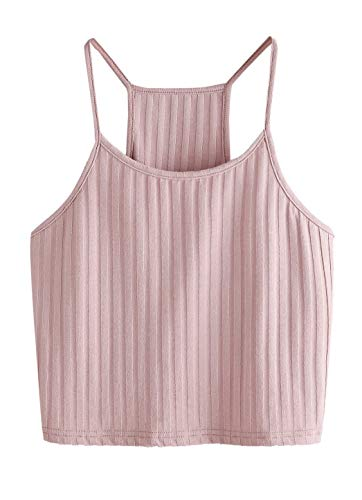 The Blazze Women's Summer Basic Sexy Strappy Sleeveless Racerback Camisole Crop Top (XXL, Pink)