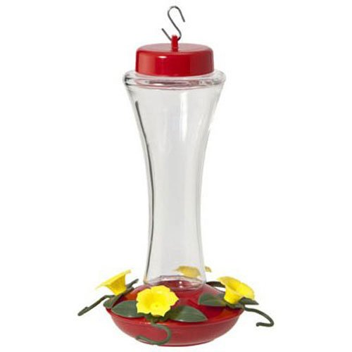 WOODLINK - Bird Feeder, Hummingbird, Clear Swirl Glass, 4-Perch, 16-oz.