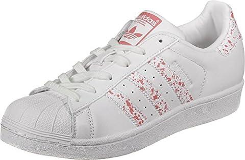 adidas Superstar, Sneakers Basses Femme, Blanc (Footwear White/Footwear White/Tactile Rose), 41 1/3 EU
