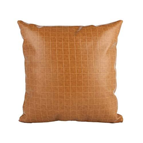 YOTA HOME Bedside Rückenlehne Nordischen Stil Kissen Wohnzimmer Leder Sofa Lederkissen Einfache Moderne Kissen mit Kern (Farbe : Orange, größe : 50x50cm) - Stil-leder-sofa