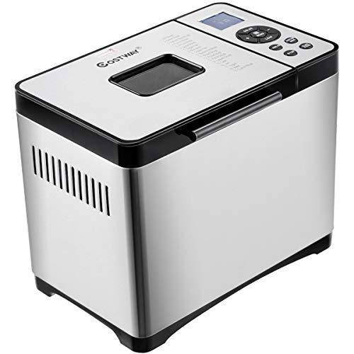 GOPLUS Brotbackautomat 19 Backprogramme, Brotbackmaschine aus Edelstahl, Brotbäcker für 500g-1000g Brotgewicht, Backmeister 650W