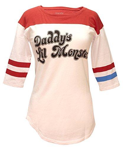 Selbstmord-Gruppe Harley Quinn Daddys Lil Monster Frau Baseball T-Shirt Weiß Mittel - DE 38 Weiß (Texte Von Superhelden, Halloween)
