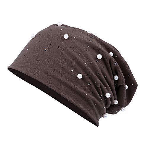VRTUR Frauen Elegant Beanie Mütze mit Perlen und Strass Nieten, Elastisches Jersey Baumwolle Slouch Long Beanie Damen E -