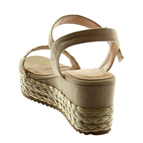 Angkorly Chaussure Mode Sandale Mule Lanière Cheville BI-Matière Femme avec de la Paille Tréssé Boucle Talon Compensé Plateforme 6.5 cm Beige