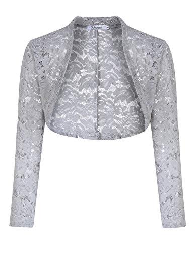 KOJOOIN Damen Bolero Spitzen Jacke Festlich Kurz Cardigan Langarm Strickjacke Für Hochzeit Cocktailkleid -