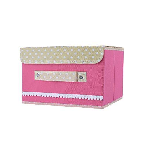 Vovoly Aufbewahrungskorb mit Deckel faltbar für Buch Kosmetika oder Unterwäsche Rosa (Woven Storage-boxen)