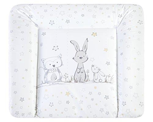 Julius Zöllner Häschen und Eule Softy Folie Wickelauflage 2220126130, weiß, 75 cm tief x 85 cm breit