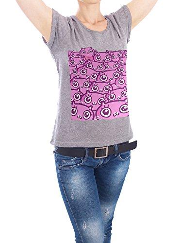 "Design T-Shirt Frauen Earth Positive ""Crazy Cat Lady Dreams"" - stylisches Shirt Tiere Kindermotive Comic von Liis Roden Grau"