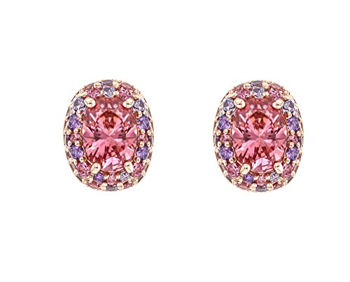 Myia Passiello Platinum Plated Sterling Silver Colour Flash Rose Gold Plated Pink Swarovski Zirconia Stud Earrings