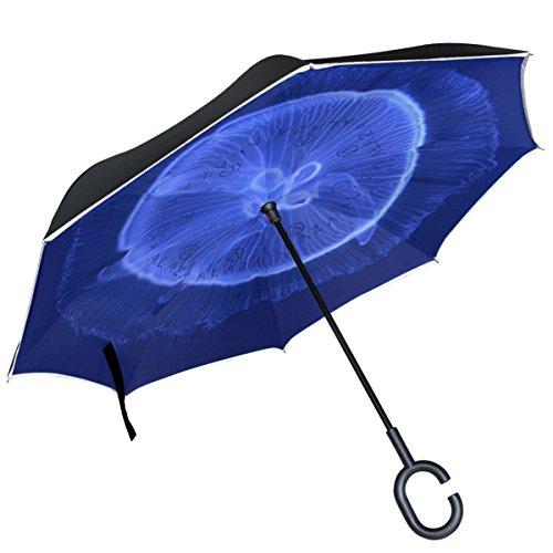 Alaza blau transparent Qualle seitenverkehrt Regenschirm Double Layer winddicht Rückseite Regenschirm -