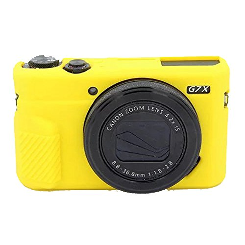 Yunchenghe G7X Mark II Caja de la vivienda de la cámara, Cubierta de la caja de la cámara de la goma de silicona profesional desmontable protectora, Para Canon PowerShot G7X Mark II - Amarillo