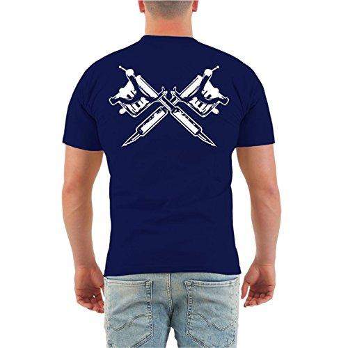 Männer und Herren T-Shirt Tätowiert & arbeiten geh ich auch (mit Rückendruck) Größe S - 8XL Dunkelblau