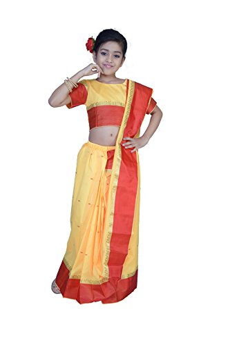 Pratima Girl's Party Wear Gold silk Ready made Pre-stitched Saree