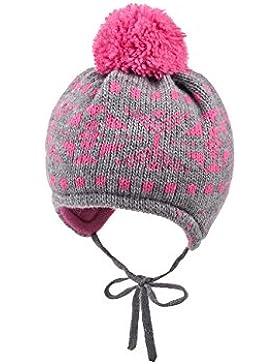 maximo Baby-Mädchen Mütze Schneeflocke, Pompon, Bindeband Fleecefutter