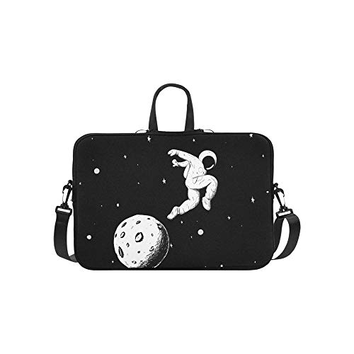 Astronauten Fotografieren auf der Mondsichel-Muster-Aktentasche Laptoptasche Messenger Schultertasche Crossbody Handtasche für ()