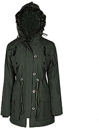 PU Trim Fur Hood Padded Womens Coat