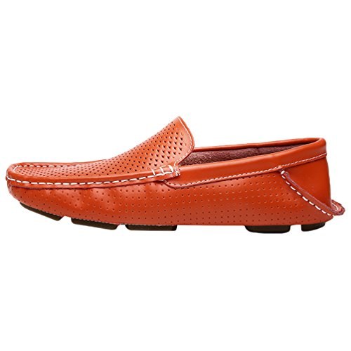 YOUJIA Chaussures Bateau Homme Respirant Faux Cuir Mocassins Slip On Chaussures Plates #1 Orange