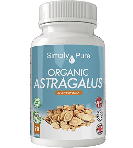 Organic Astragalus 90x Capsules, 100% Natural Soil Association Certified, High Strength 500mg, Detox, Anti Stress, Immune Boost, Gluten Free, Vegan, Exclusive to Amazon, Simply Pure, Moneyback Guarantee. Test