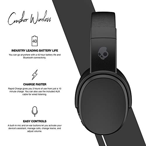 Skullcandy Crusher Wireless Over-Ear Headphone with Mic (Black) Image 3
