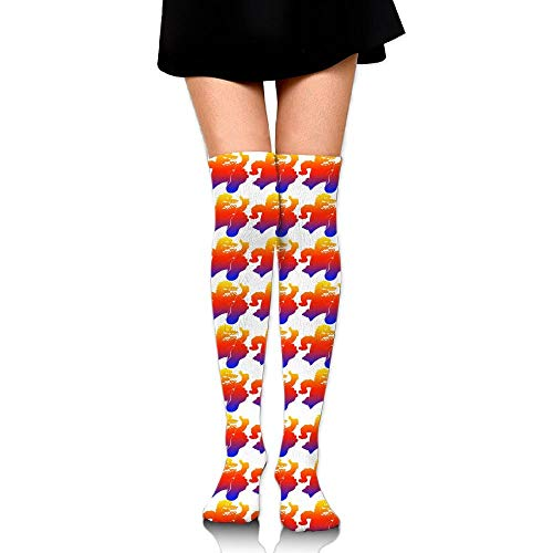 CVDFVFGB Men's/Women's Colorful Bigfoot Casual Crew Top Socks Knee Long High Socks