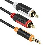 mumbi Y Audiokabel - 3.5mm Klinke auf 2x Cinch mit vergoldeten Steckern 1m