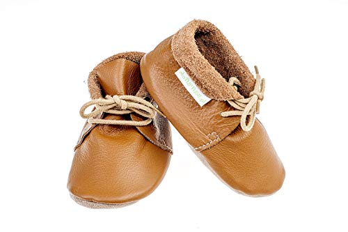 Brown Italienischen Leder Handgefertigt (EliMeli Mokassins Premium Italienisch Leder Lauflernschuhe für Jungen und Mädchen Krabbelschuhe Babyschuhe Handgefertigt in Europa (Small, Brown))