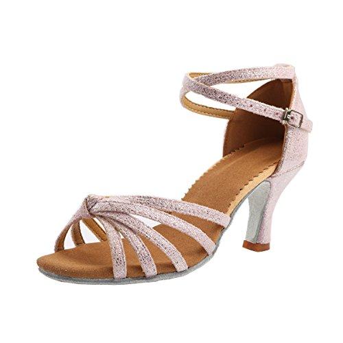 VESI - Damen Hoher Absatz Tanzschuhe Standard/Latein Rosa 40(Absatz 5cm)