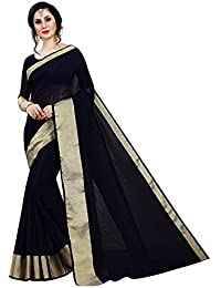 0a36f9c9a KRLVP Women s Cotton Silk Saree With Blouse  Piece(VPL 289 Doriya Cotton Black Color)