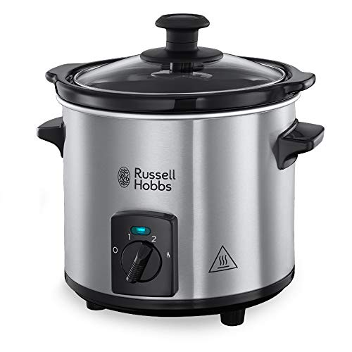 Russell Hobbs Slow Cooker Compact Home, Corpo Acciaio, 2 L, 3 Temperature, 145W, 25570-56