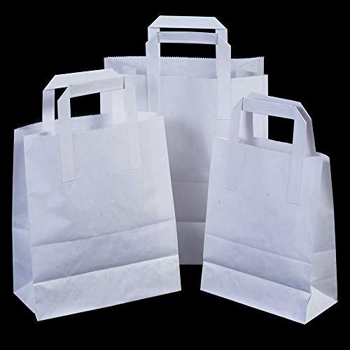 25 x weiße SOS Take Away/Geschenk Papiertragetaschen mit flachen Griffen - 25 cm x 30 cm x 14 cm (groß) Unipack Brand - Unibags