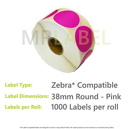 50000x Zebra Compatible Coloured Thermal Labels (50 Rolls of 1000) 38mm Round - Pink