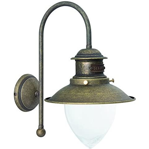 Lámpara aplique de pared latón, acabado pulido estilo Marina navegación interior/exterior
