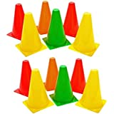 I-WIN 6 Inch Elementary Marker Cones for Track and Field Sports , Training Space Marker Equipment , Agility Field and Training Cones- Pack Of 12